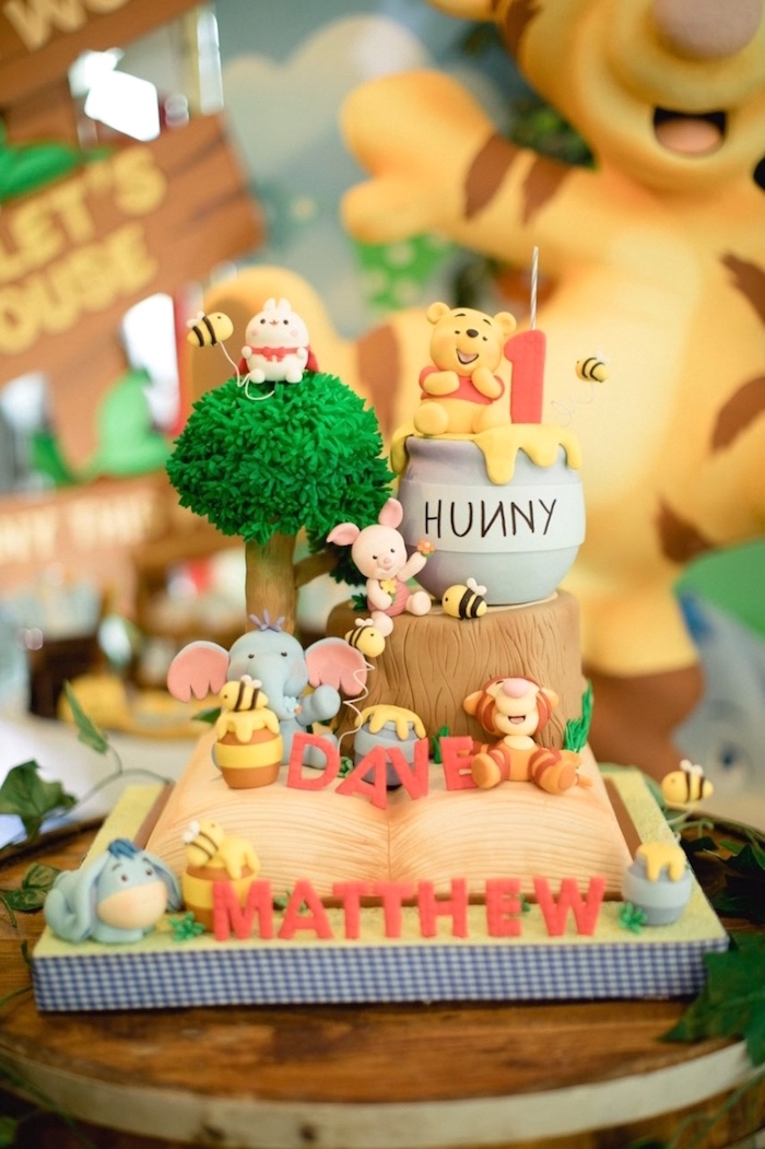 Winnie the Pooh Cake from a Winnie the Pooh 1st Birthday Party on Kara's Party Ideas | KarasPartyIdeas.com (20)