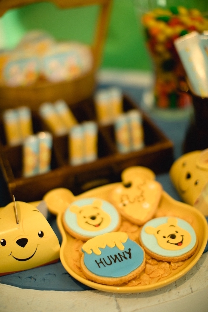 Winnie the Pooh cookies from a Winnie the Pooh 1st Birthday Party on Kara's Party Ideas | KarasPartyIdeas.com (18)