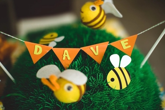 Busy bee banner from a Winnie the Pooh 1st Birthday Party on Kara's Party Ideas | KarasPartyIdeas.com (15)