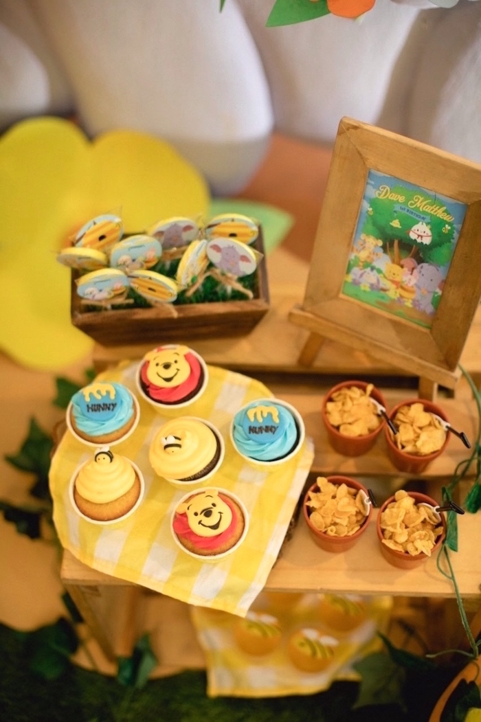 Winnie the Pooh cupcakes + sweets from a Winnie the Pooh 1st Birthday Party on Kara's Party Ideas | KarasPartyIdeas.com (14)