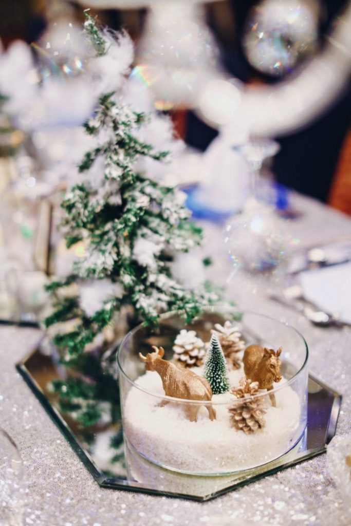 Winter centerpieces from a Winter ONEderland 1st Birthday Party on Kara's Party Ideas | KarasPartyIdeas.com (6)