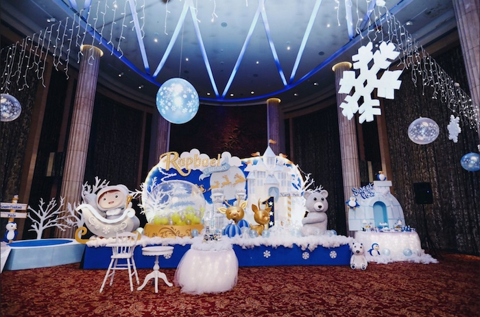 Winter wonderland backdrop from a Winter ONEderland 1st Birthday Party on Kara's Party Ideas | KarasPartyIdeas.com (14)