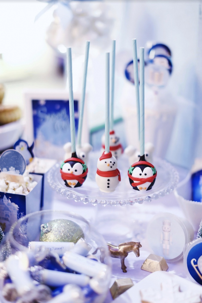 Penguin and snowman cake pops from a Winter ONEderland 1st Birthday Party on Kara's Party Ideas | KarasPartyIdeas.com (13)