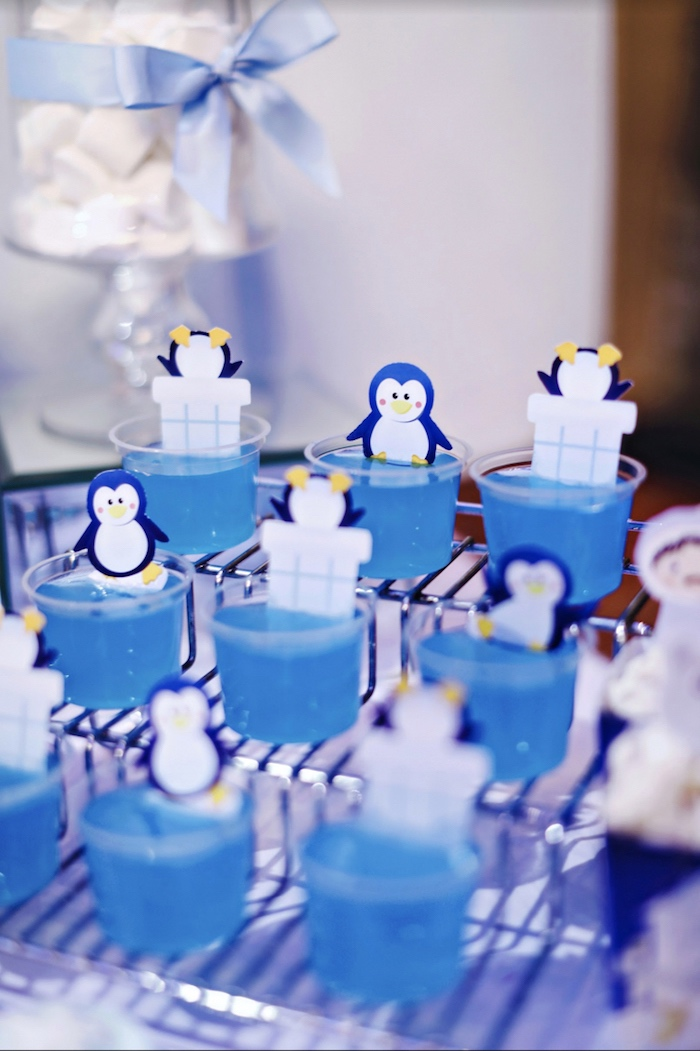 Jello cups from a Winter ONEderland 1st Birthday Party on Kara's Party Ideas | KarasPartyIdeas.com (12)