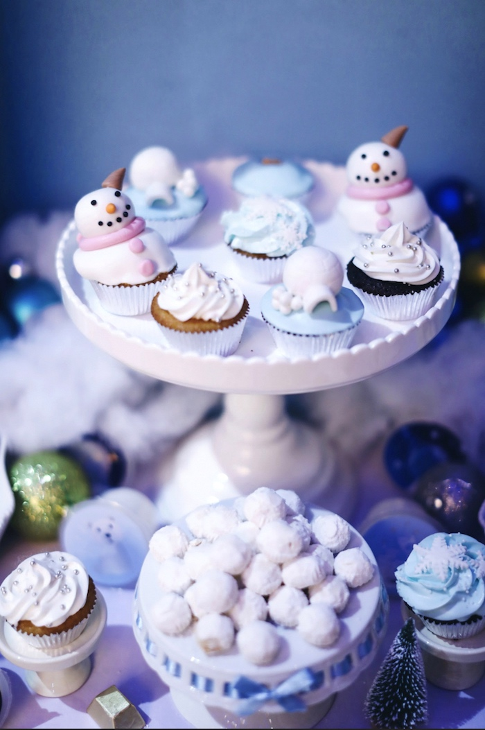 Cupcakes from a Winter ONEderland 1st Birthday Party on Kara's Party Ideas | KarasPartyIdeas.com (9)