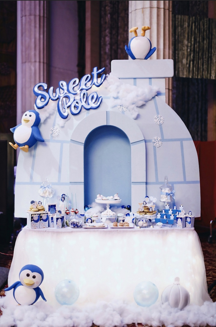 Sweet pole dessert table from a Winter ONEderland 1st Birthday Party on Kara's Party Ideas | KarasPartyIdeas.com (8)
