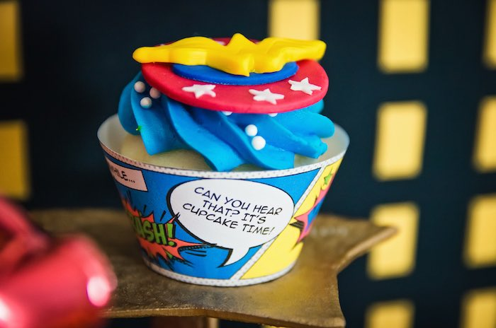 Comic strip cupcake wrapper from a Wonder Woman Superhero Birthday Party on Kara's Party Ideas | KarasPartyIdeas.com (27)