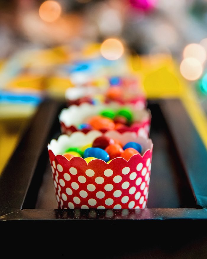 Candy cups from a Wonder Woman Superhero Birthday Party on Kara's Party Ideas | KarasPartyIdeas.com (25)