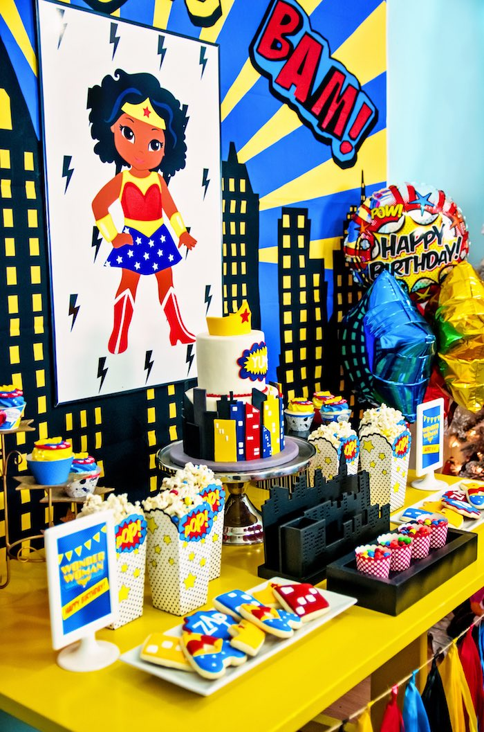 Side-view of Wonder Woman dessert table from a Wonder Woman Superhero Birthday Party on Kara's Party Ideas | KarasPartyIdeas.com (24)