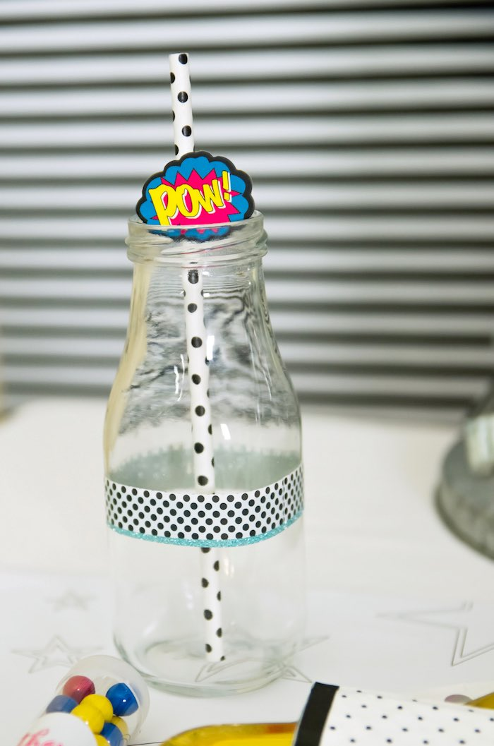 Pow drink bottle from a Wonder Woman Superhero Birthday Party on Kara's Party Ideas | KarasPartyIdeas.com (20)