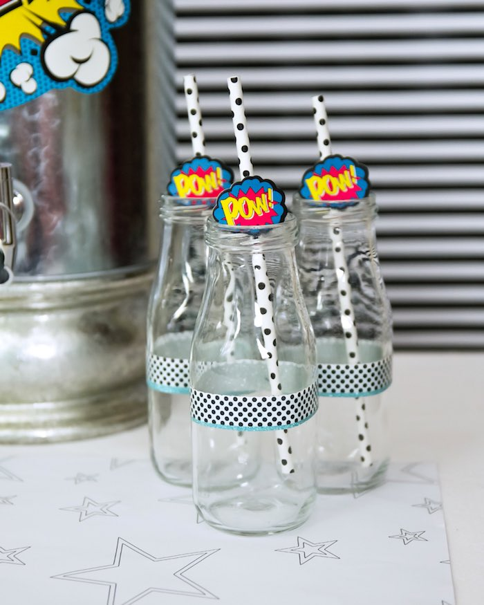 Pow drink bottles from a Wonder Woman Superhero Birthday Party on Kara's Party Ideas | KarasPartyIdeas.com (18)