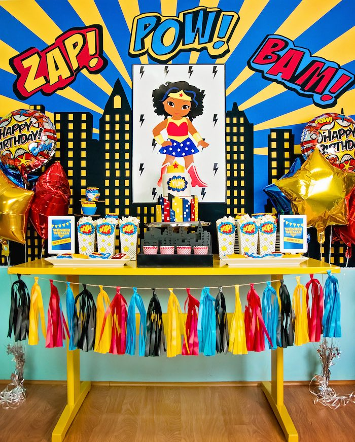Kara's Party Ideas Wonder Woman Superhero Birthday Party