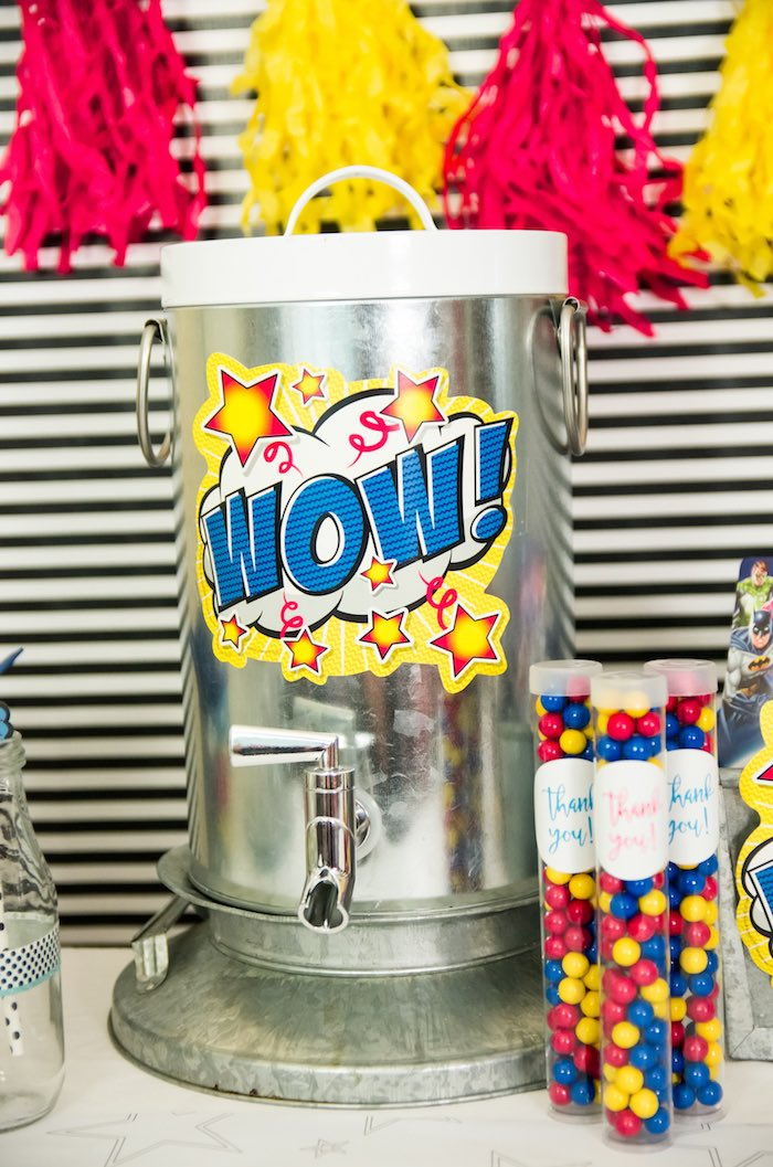 Metal beverage dispenser from a Wonder Woman Superhero Birthday Party on Kara's Party Ideas | KarasPartyIdeas.com (17)