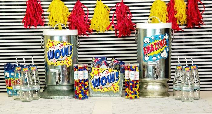 Beverage table from a Wonder Woman Superhero Birthday Party on Kara's Party Ideas | KarasPartyIdeas.com (14)