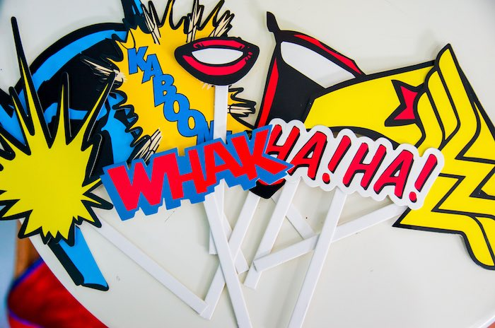 Photo booth props from a Wonder Woman Superhero Birthday Party on Kara's Party Ideas | KarasPartyIdeas.com (9)
