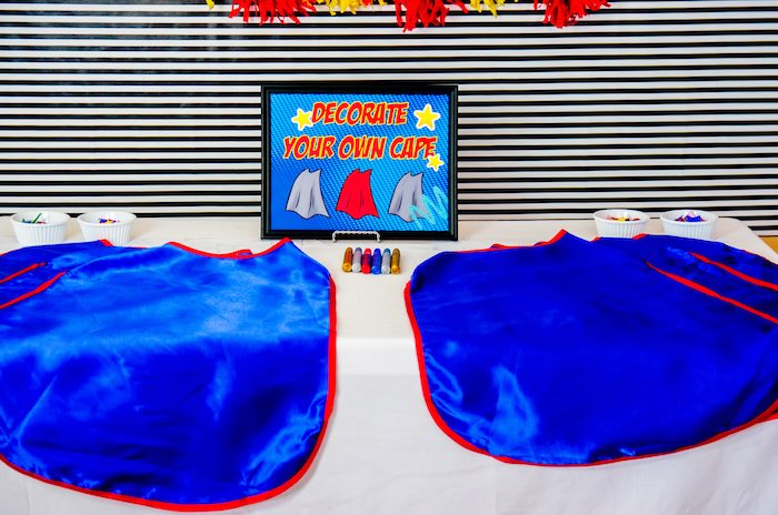 Cape decorating station from a Wonder Woman Superhero Birthday Party on Kara's Party Ideas | KarasPartyIdeas.com (8)