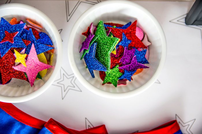 Glitter stars from a Wonder Woman Superhero Birthday Party on Kara's Party Ideas | KarasPartyIdeas.com (7)