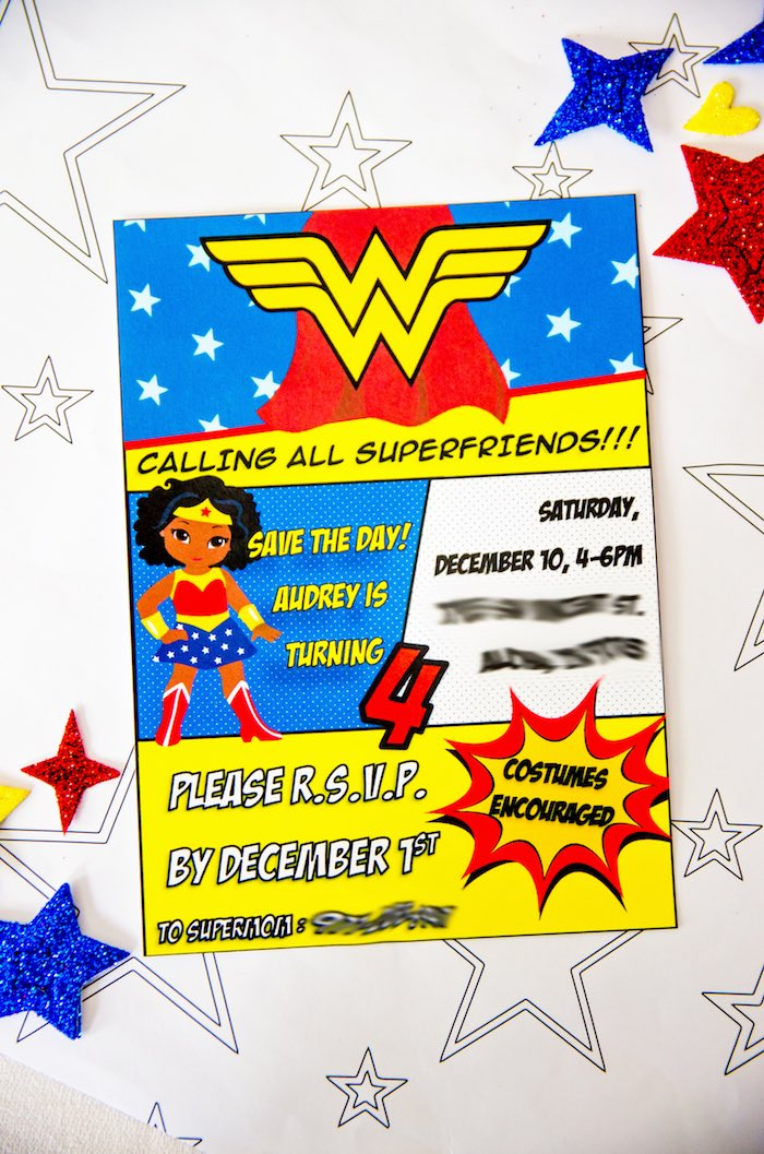 Wonder Woman Party Invitation from a Wonder Woman Superhero Birthday Party on Kara's Party Ideas | KarasPartyIdeas.com (5)
