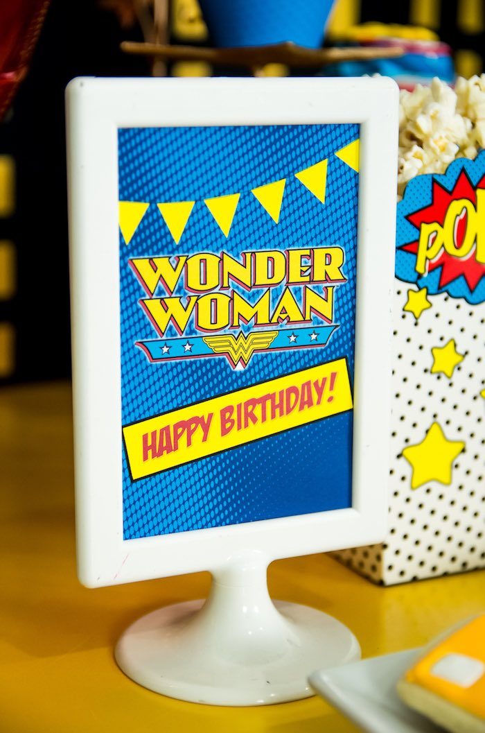 Printed Wonder Woman sign from a Wonder Woman Superhero Birthday Party on Kara's Party Ideas | KarasPartyIdeas.com (34)