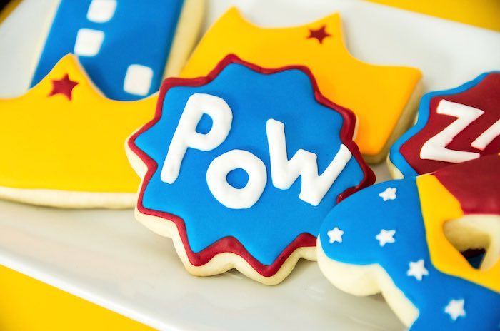Superhero cookies from a Wonder Woman Superhero Birthday Party on Kara's Party Ideas | KarasPartyIdeas.com (33)