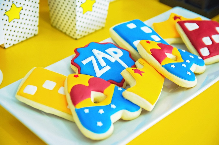Wonder Woman sugar cookies from a Wonder Woman Superhero Birthday Party on Kara's Party Ideas | KarasPartyIdeas.com (32)