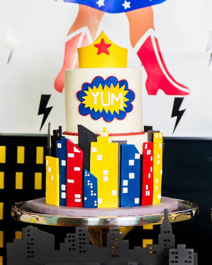 Wonder Woman Cake from a Wonder Woman Superhero Birthday Party on Kara's Party Ideas | KarasPartyIdeas.com (31)