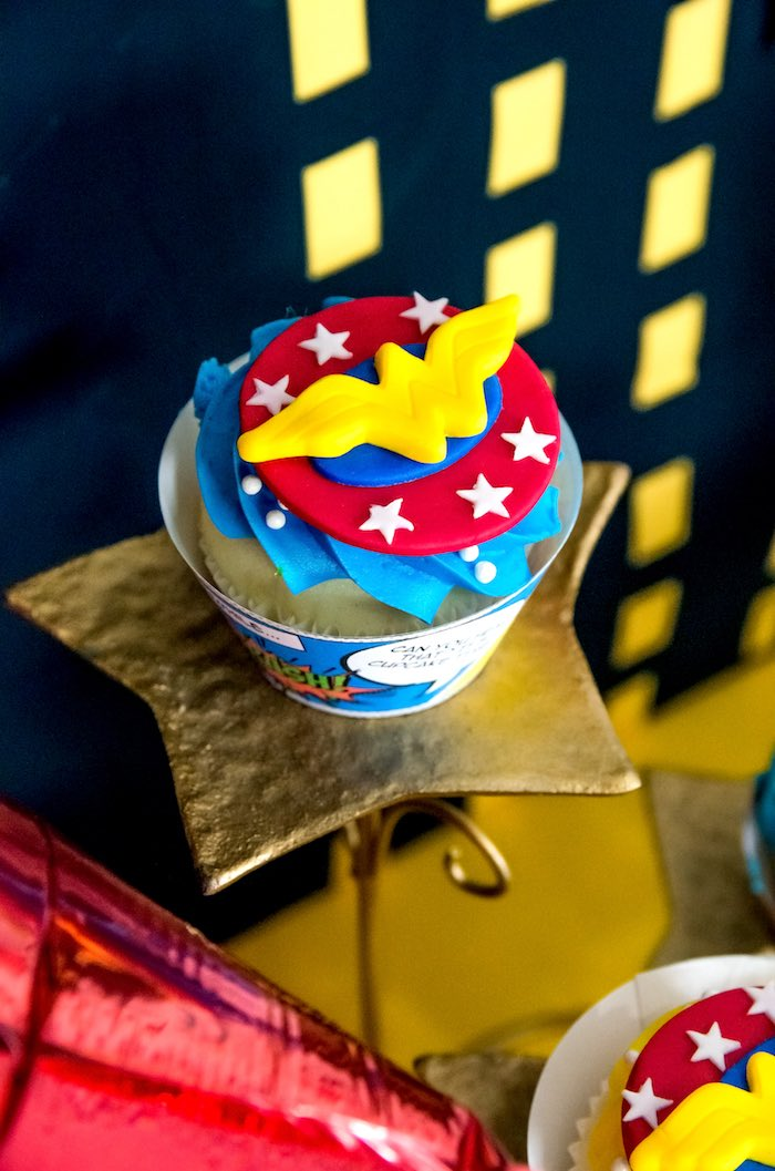 Wonder Woman cupcake topper from a Wonder Woman Superhero Birthday Party on Kara's Party Ideas | KarasPartyIdeas.com (30)