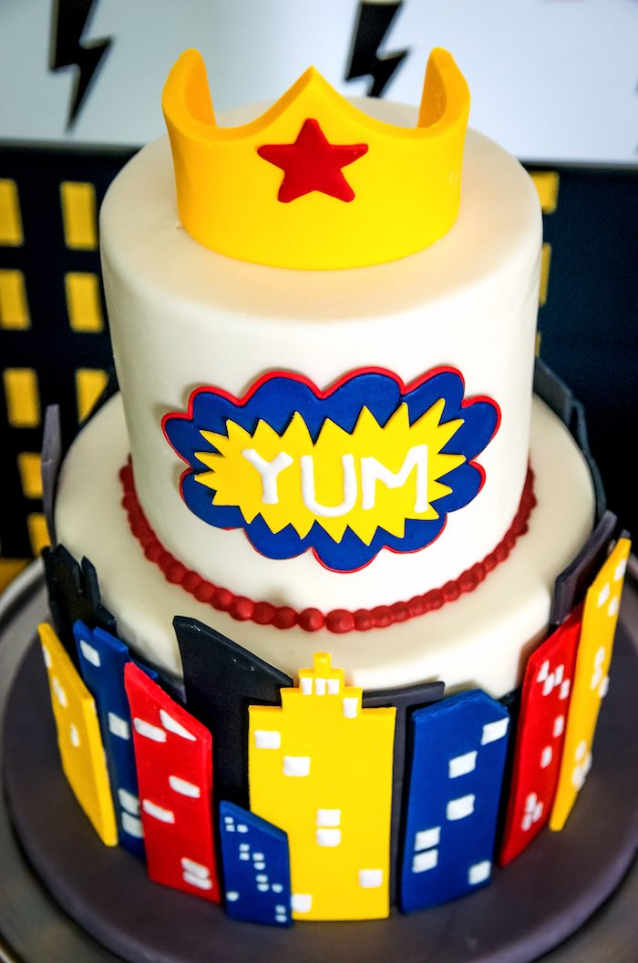 Wonder Woman Cake from a Wonder Woman Superhero Birthday Party on Kara's Party Ideas | KarasPartyIdeas.com (29)