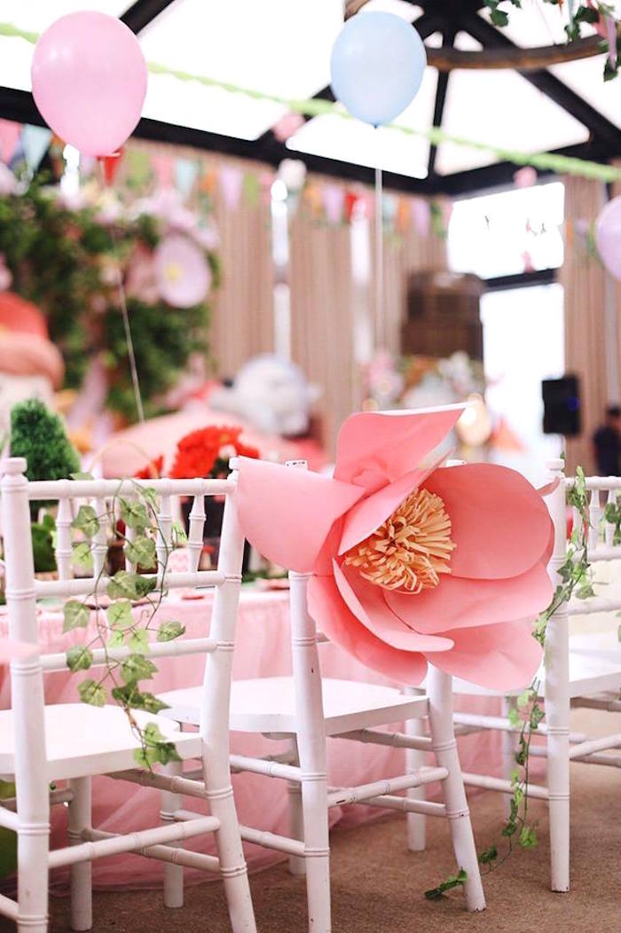 Chiavari chairs adorned with vines and paper flowers from a Woodland Little Red Riding Hood Party on Kara's Party Ideas | KarasPartyIdeas.com (13)