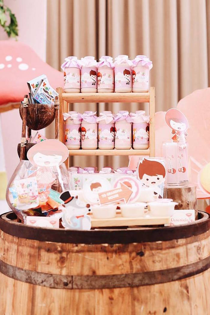 Barrel sweet table from a Woodland Little Red Riding Hood Party on Kara's Party Ideas | KarasPartyIdeas.com (10)