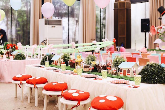 Woodland guest table from a Woodland Little Red Riding Hood Party on Kara's Party Ideas | KarasPartyIdeas.com (16)