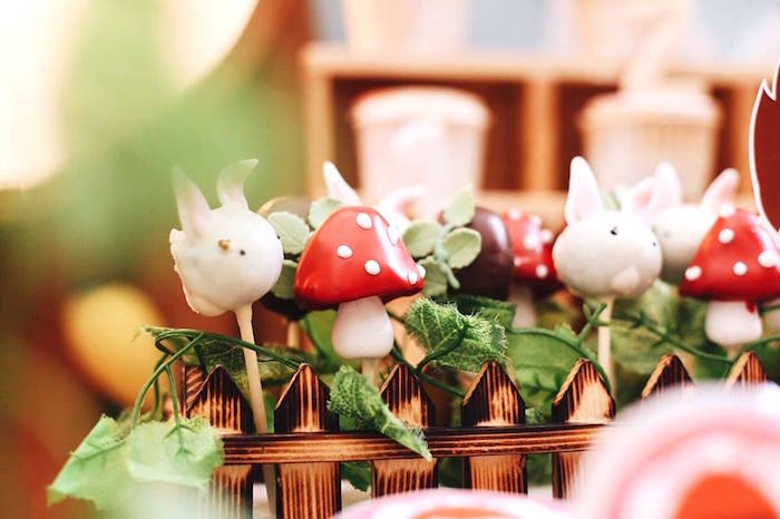 Toadstool and bunny rabbit cake pops from a Woodland Little Red Riding Hood Party on Kara's Party Ideas | KarasPartyIdeas.com (14)