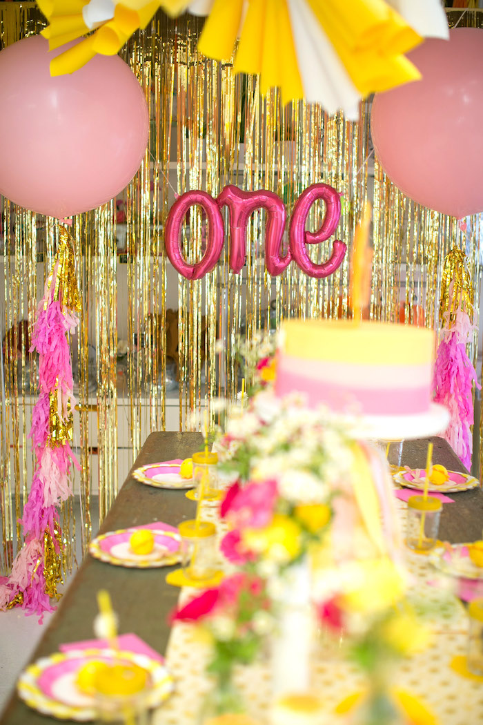 Gold ribbon backdrop from a You Are My Sunshine Birthday Party on Kara's Party Ideas | KarasPartyIdeas.com (14)