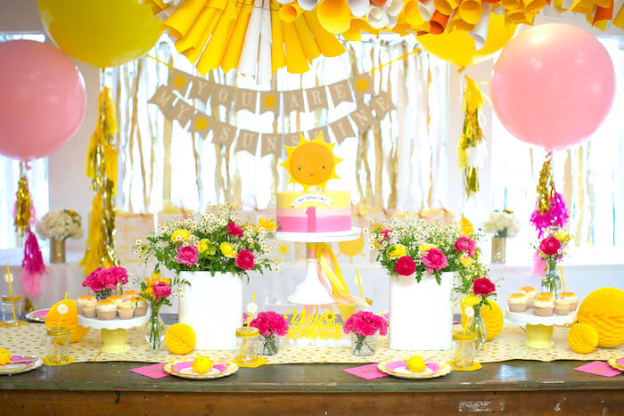 Sunshine party table from a You Are My Sunshine Birthday Party on Kara's Party Ideas | KarasPartyIdeas.com (13)