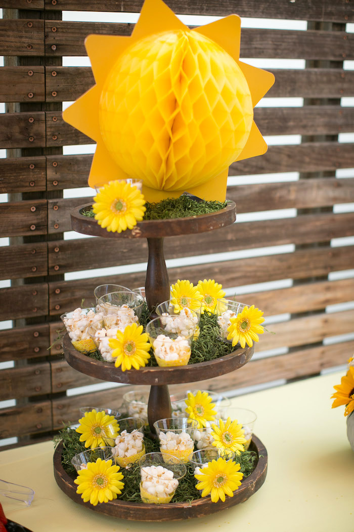 Sunshine dessert pedestal from a You Are My Sunshine Birthday Party on Kara's Party Ideas | KarasPartyIdeas.com (9)