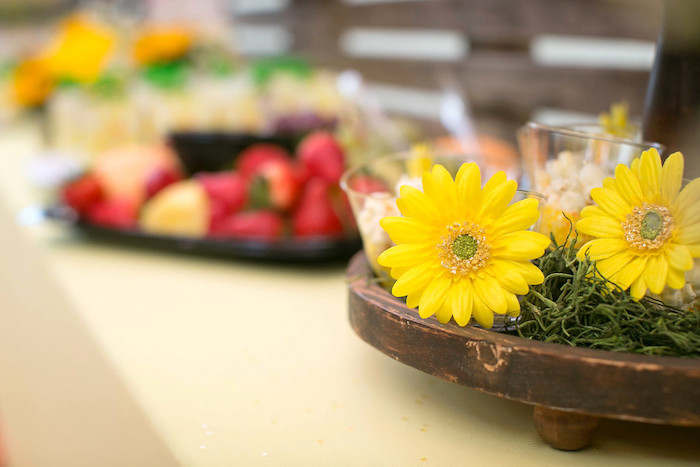 Yellow daisy dessert cup from a You Are My Sunshine Birthday Party on Kara's Party Ideas | KarasPartyIdeas.com (8)