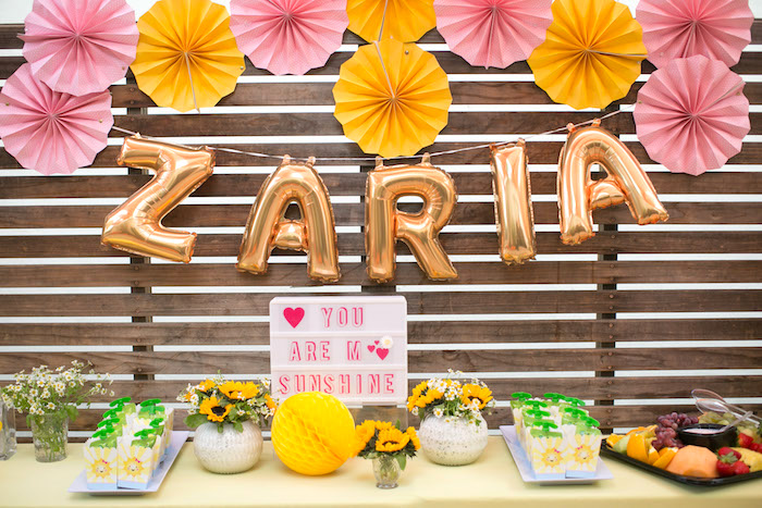 Party table from a You Are My Sunshine Birthday Party on Kara's Party Ideas | KarasPartyIdeas.com (6)