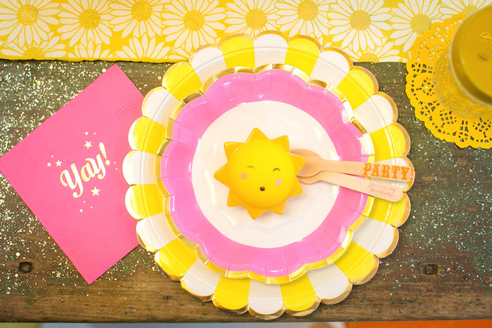 Sunshine place setting from a You Are My Sunshine Birthday Party on Kara's Party Ideas | KarasPartyIdeas.com (20)