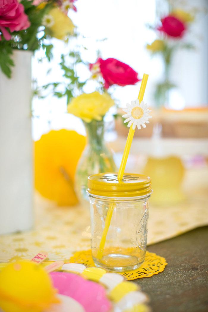 Daisy mason jar from a You Are My Sunshine Birthday Party on Kara's Party Ideas | KarasPartyIdeas.com (18)