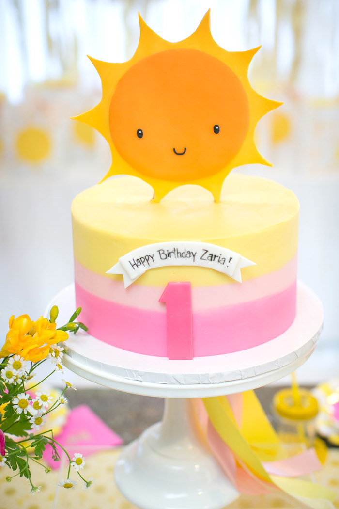 Sunshine cake from a You Are My Sunshine Birthday Party on Kara's Party Ideas | KarasPartyIdeas.com (17)