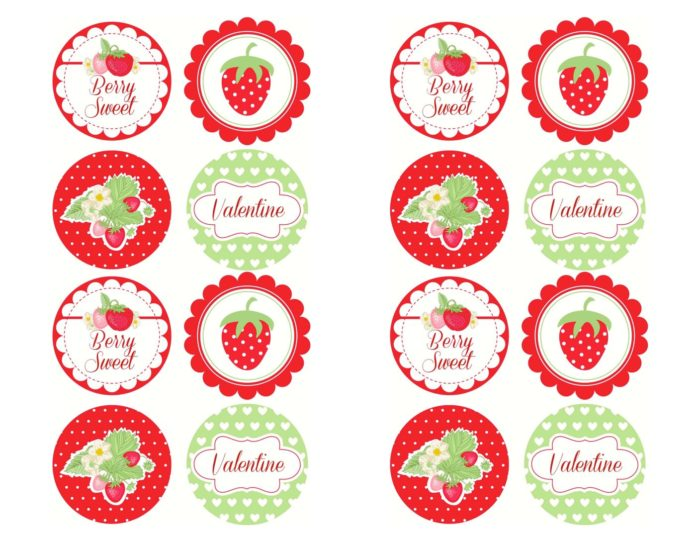 Free cupcake toppers! Berry Sweet Strawberry Valentine's Day Party with FREE printables! By Kara's Party Ideas for Canon.