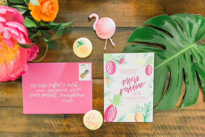 Pineapple party invitation from a Tropical Birthday Party on Kara's Party Ideas | KarasPartyIdeas.com