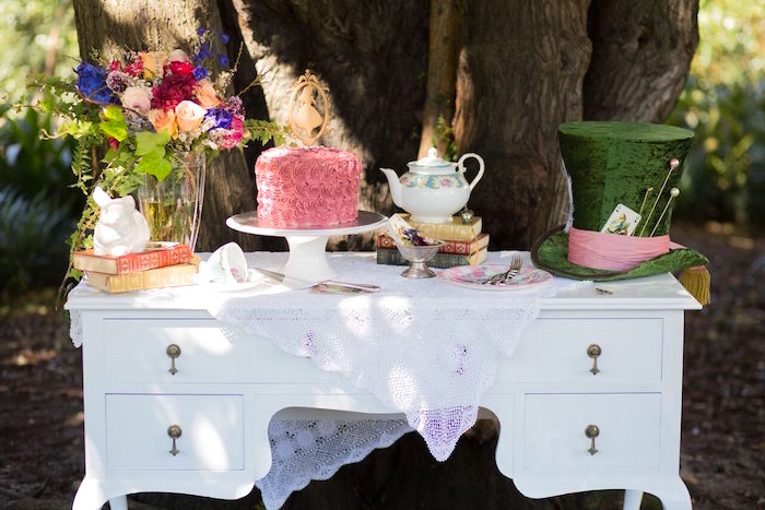 Tea table from an Alice in Wonderland Birthday Tea Party on Kara's Party Ideas | KarasPartyIdeas.com (21)