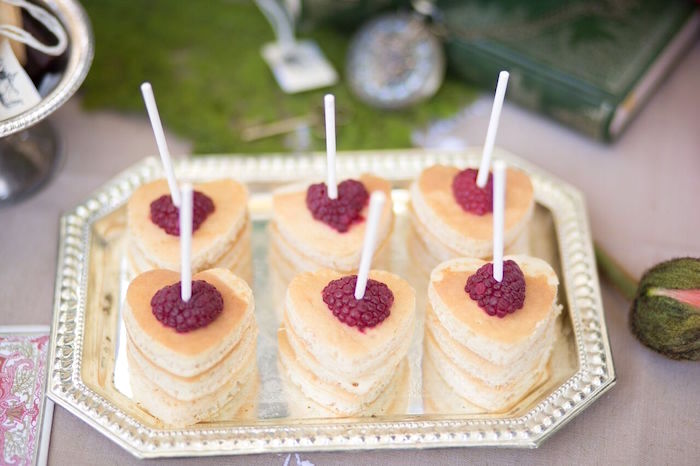 Mini heart pancakes and raspberries from an Alice in Wonderland Birthday Tea Party on Kara's Party Ideas | KarasPartyIdeas.com (15)