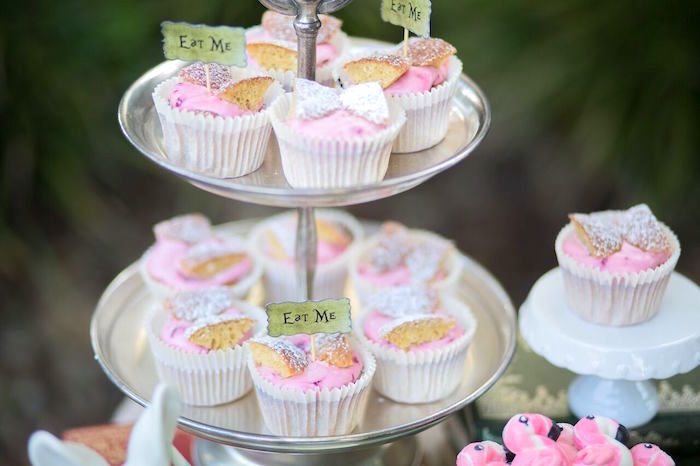 Cupcakes from an Alice in Wonderland Birthday Tea Party on Kara's Party Ideas | KarasPartyIdeas.com (14)