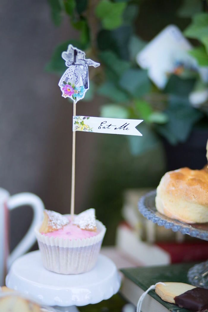 Cupcake from an Alice in Wonderland Birthday Tea Party on Kara's Party Ideas | KarasPartyIdeas.com (12)