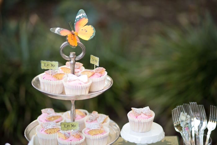 Cupcakes from an Alice in Wonderland Birthday Tea Party on Kara's Party Ideas | KarasPartyIdeas.com (9)