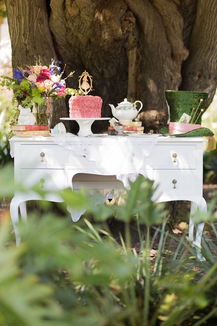 Tea table from an Alice in Wonderland Birthday Tea Party on Kara's Party Ideas | KarasPartyIdeas.com (27)