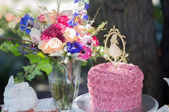 Pink rosette cake from an Alice in Wonderland Birthday Tea Party on Kara's Party Ideas | KarasPartyIdeas.com (25)