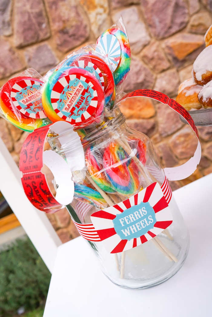Ferris wheel lollipops from a Backyard Carnival Party on Kara's Party Ideas | KarasPartyIdeas.com (31)